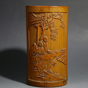 金牌 民国.竹雕人物诗文笔筒