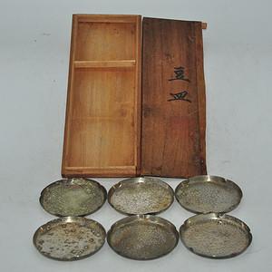 日本铜制茶盘一套 6个
