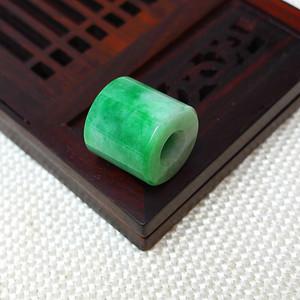缅甸老坑A货翡翠冰润满绿平安柱吊坠