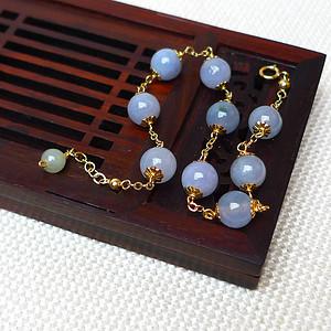 缅甸老坑A货翡翠14k金镶嵌冰种紫罗兰圆珠手链