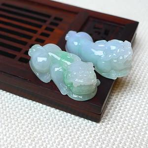 缅甸老坑A货翡翠冰润带绿貔貅挂件套组