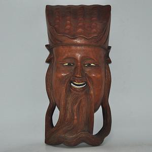 木雕吕洞宾脸谱挂件