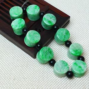 缅甸老坑A货翡翠冰润满绿平安柱手链