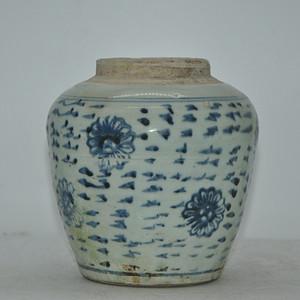 清代青花瓷罐 有冲