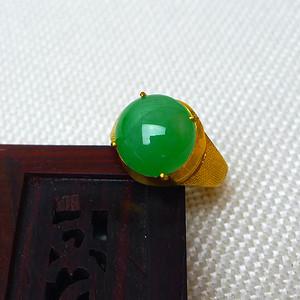 缅甸老坑A货翡翠14k金镶嵌冰润带阳绿戒指