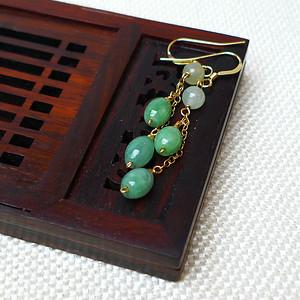 缅甸老坑A货翡翠14k金镶嵌冰润满绿腰鼓型耳环