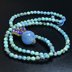 精品 保真天然绿松石海蓝宝石项链一条