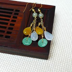 缅甸老坑A货翡翠14k金镶嵌冰种双彩平安扣水滴耳环