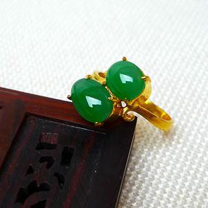 缅甸老坑A货翡翠14k金镶嵌冰种辣绿双蛋型戒指