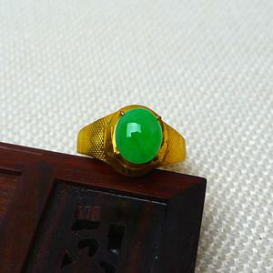 缅甸老坑A货翡翠14k金镶嵌冰润满绿戒指
