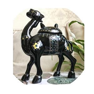 创汇期精品 黑大漆镶嵌螺钿骆驼摆件