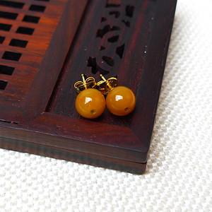 缅甸老坑A货翡翠14k金镶嵌冰润褐黄圆珠耳环