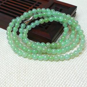 缅甸老坑A货翡翠冰种浅绿圆珠项链