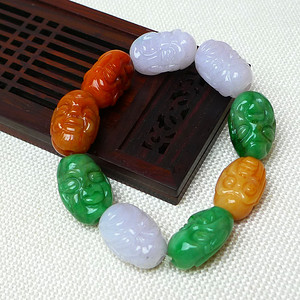 缅甸老坑A货翡翠冰润双彩罗汉手链
