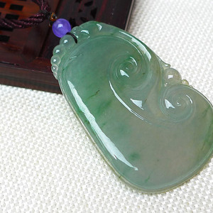 缅甸老坑A货翡翠冰种满绿如意吊坠