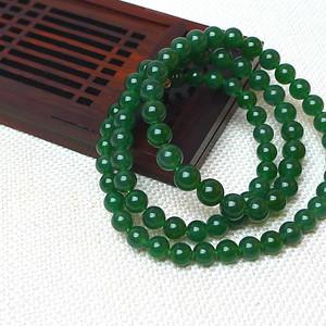 缅甸老坑A货翡翠冰润辣绿圆珠项链