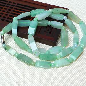 缅甸老坑A货翡翠冰种飘绿复古项链