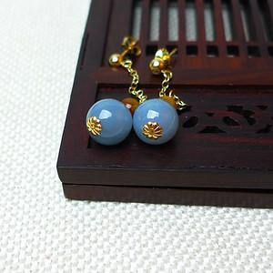 缅甸老坑A货翡翠14k金镶嵌冰润紫罗兰圆珠耳环