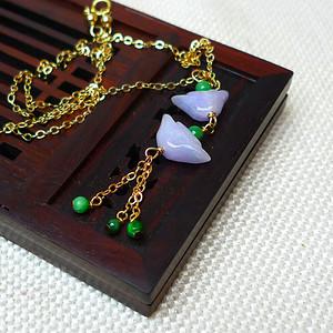 缅甸老坑A货翡翠14k金镶嵌冰润紫罗兰招财进宝项链