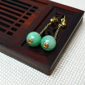 缅甸老坑A货翡翠14k金镶嵌冰润浅绿圆珠耳环