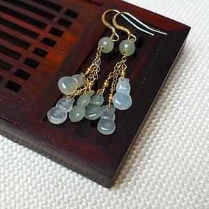 缅甸老坑A货翡翠14k金镶嵌冰种浅绿葫芦耳环