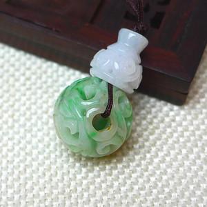 缅甸老坑A货翡翠冰润带绿镂空雕 三通 佛珠头吊坠