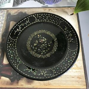 民国黑大漆镶嵌螺钿描金小茶盘