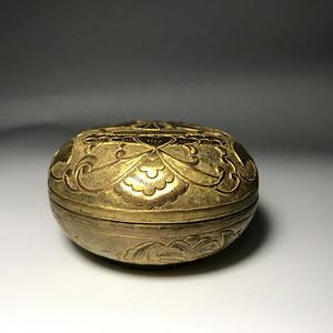 回流精品 铜鎏金錾刻粉盒