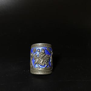 清晚民国时期老银烧蓝戒指一枚