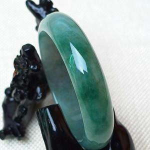 缅甸老坑A货翡翠冰润满绿宽边手镯