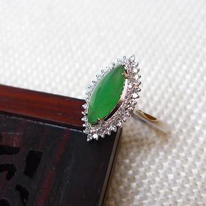 缅甸老坑A货翡翠18k金镶嵌冰种满绿精美戒指