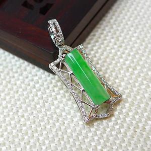 缅甸老坑A货翡翠18k金镶嵌冰种满绿精美吊坠