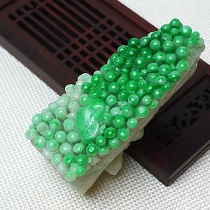 缅甸老坑A货翡翠冰润满绿多子多孙摆件