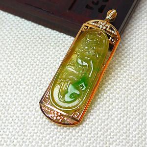 缅甸老坑A货翡翠18k金镶嵌伴钻冰种双彩飞龙在天吊坠