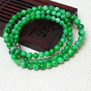 缅甸老坑A货翡翠冰润满绿圆珠项链