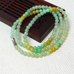 缅甸老坑A货翡翠冰种双彩圆珠项链