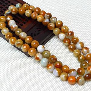 缅甸老坑A货翡翠冰润双彩圆珠项链