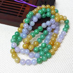 缅甸老坑A货翡翠冰润三彩圆珠项链