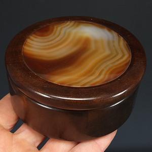 美国回流  金丝南本镶嵌天然玛瑙  圆盒