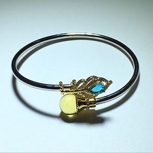 镶嵌 海蓝色托帕石 多米尼加蓝珀 凤尾戒指手镯一套