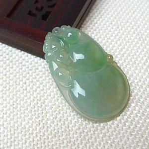 缅甸老坑A货翡翠冰种满绿葫芦吊坠
