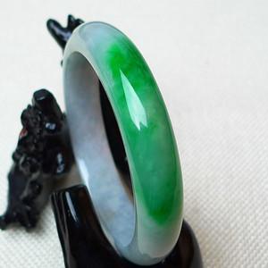 缅甸老坑A货翡翠冰润带阳绿宽边手镯