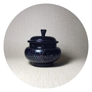 精品 amp  8226 漆器 amp  8226 茶器 民国黑大漆嵌螺钿茶叶罐