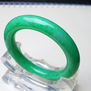 阳绿翡翠手镯圆条 天然A货翡翠配证书