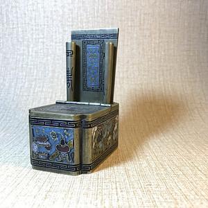 文房收藏精品 刻铜烧蓝墨盒笔架
