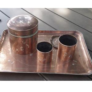 清末铜嵌银茶具套装