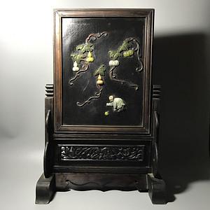 官家重器收藏 清代花梨木嵌宝石插屏