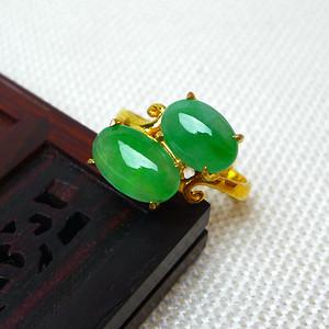 缅甸老坑A货翡翠14k金镶嵌冰种辣绿蛋型精美戒指