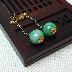 缅甸老坑A货翡翠14k金镶嵌冰润满绿圆珠耳环