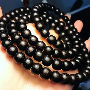老料黑珍珠爆多金星!天然印度小叶紫檀精品108佛珠手串!